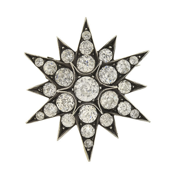 Victorian Sterling Silver & French Paste Starburst Pin
