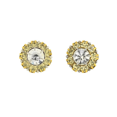 Late Victorian English 9kt French Paste Cluster Stud Earrings