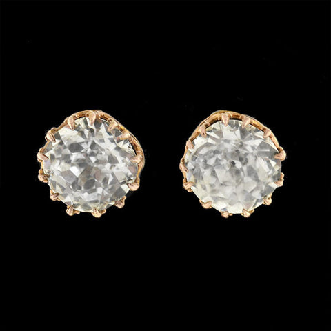Victorian 14kt French Paste Cushion Cut Stud Earrings