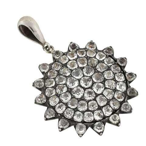 Victorian Sterling French Paste Sun Pendant