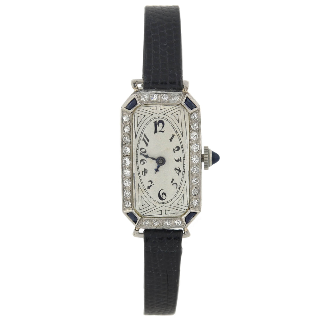PAUL DITISHEIM Art Deco Platinum Diamond + Sapphire Watch