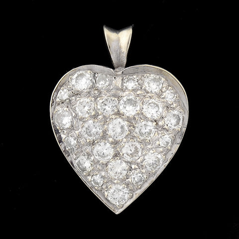 Edwardian 14kt White Gold 3-stone Diamond Pendant .78ct