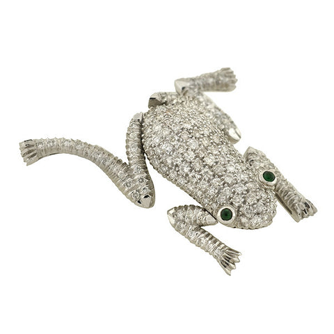 Vintage 18kt Gold Pave Diamond & Emerald Frog Pin