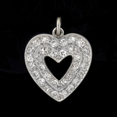 Retro 14kt Pavé Diamond Cutout Center Heart Pendant