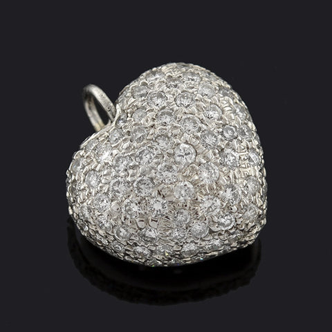 Estate 14kt Pavé Diamond Puffy Heart Pendant