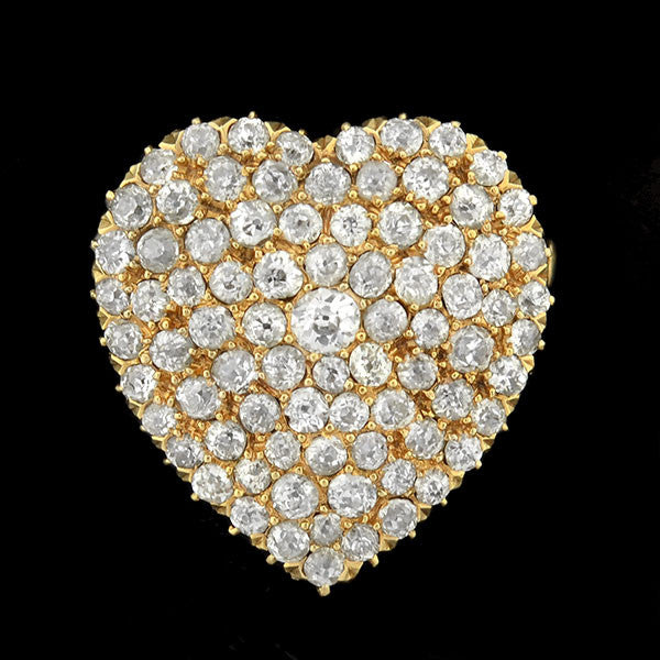 Art Nouveau 18kt Gold Diamond Heart Pin/Pendant