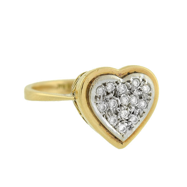 Estate 14kt Pave Diamond Heart Ring