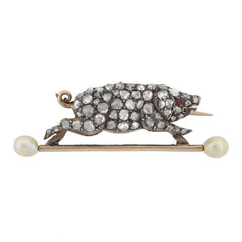 Victorian 14kt & Silver Diamond & Pearl Potbelly Pig Pin .65ctw