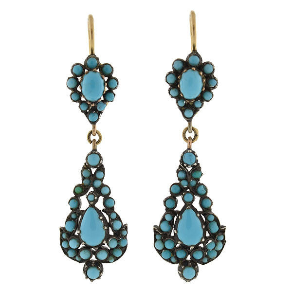 Victorian 14kt & Silver Persian Turquoise Earrings