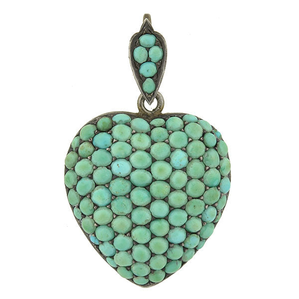Victorian Sterling Pavé Turquoise Heart Pendant/Locket