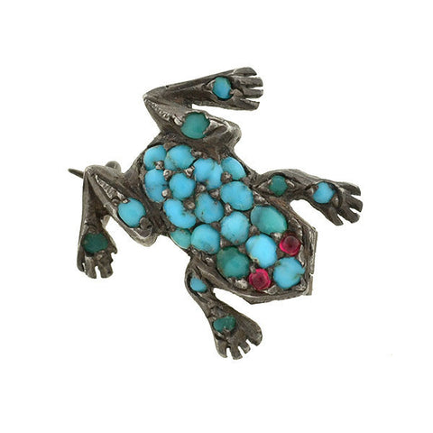 Victorian Silver Persian Turquoise & Ruby Frog Pin