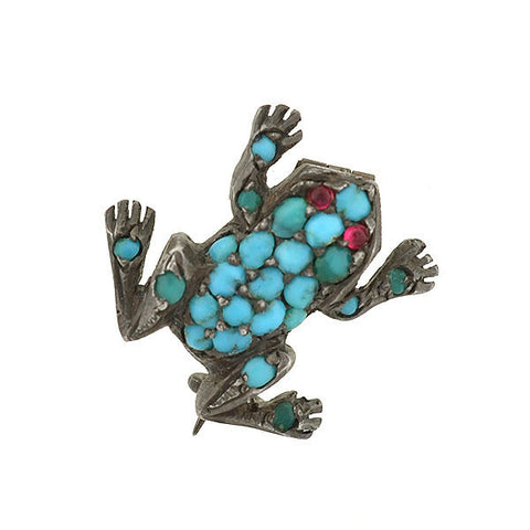 Art Deco Platinum 14kt Diamond & Ruby Pointer Dog Pin