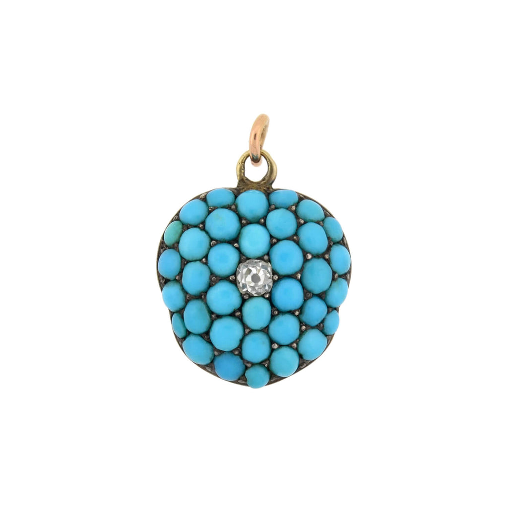 Victorian 15kt Persian Turquoise + Diamond Locket Pendant