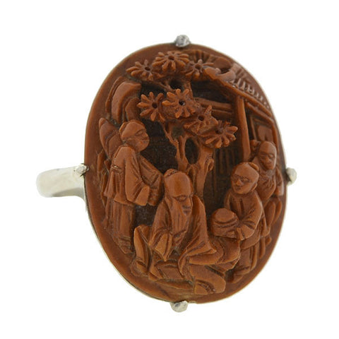 Art Deco Chinese Sterling & Hand Carved Peach Pit Ring