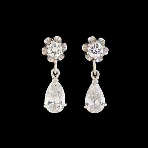 Vintage Platinum Diamond Teardrop Earrings 1.30ctw