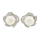 Estate 18kt Diamond & Pearl Earrings