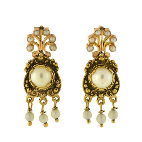 Art Deco 14kt Pearl & Dangling Fringe Earrings