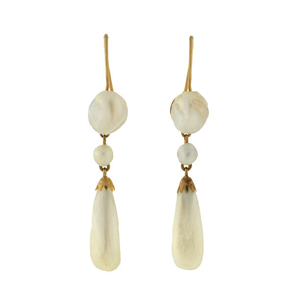 Victorian 14kt Natural Pearl Dangling Earrings