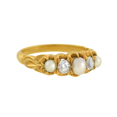 Victorian 18kt Natural Pearl & Mine Cut Diamond Ring