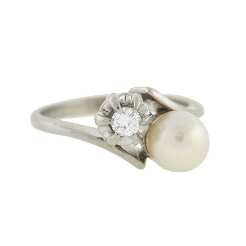 Estate 18kt Natural Pearl & Diamond Bypass Ring