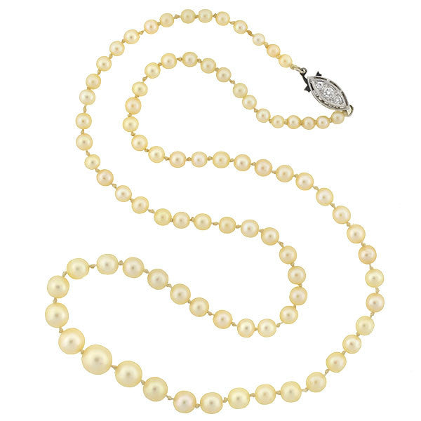 Art Deco Cultured Pearl Necklace with Diamond Clasp