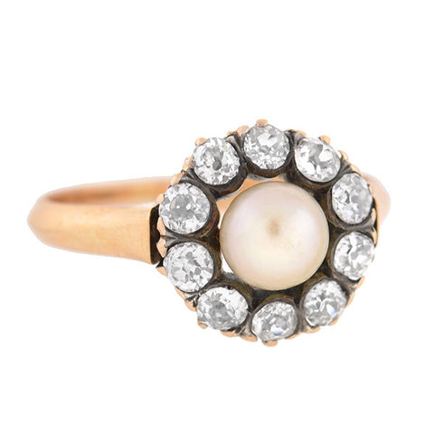 Victorian 18kt Diamond & Pearl Cluster Ring
