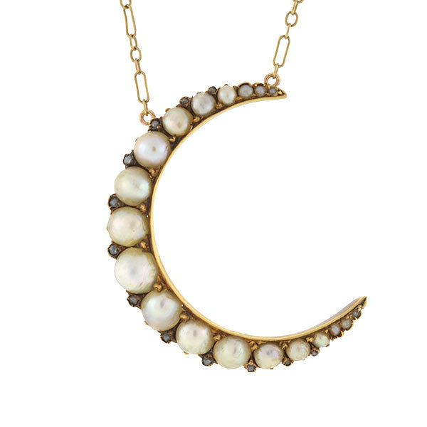 Victorian 14kt Natural Pearl & Rose Cut Diamond Crescent Necklace