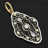 Edwardian Pearl, Diamond & Enamel Filigree Pendant
