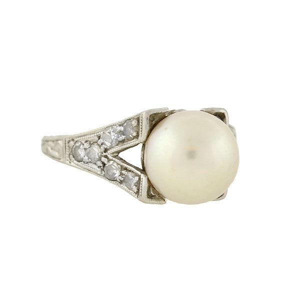 Art Deco Platinum 8.75mm Pearl & Diamond Ring