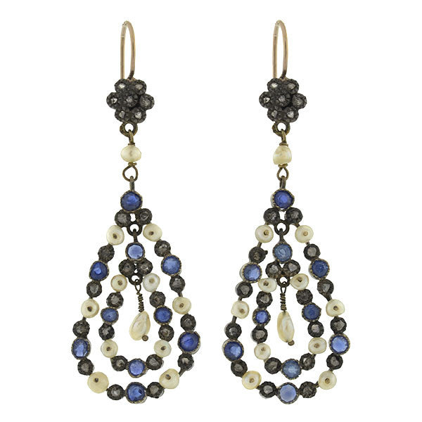 Victorian 18kt & Silver Diamond Sapphire & Pearl Earrings