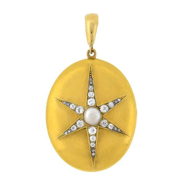 Victorian 15kt Pearl & Diamond Starburst Locket