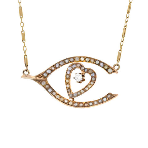 Victorian 14kt Pearl & Diamond Wishbone & Heart Necklace