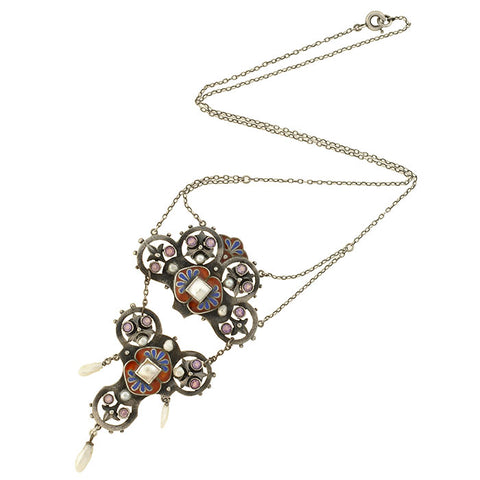 Arts & Crafts German Sterling Amethyst, Pearl + Enameled Necklace