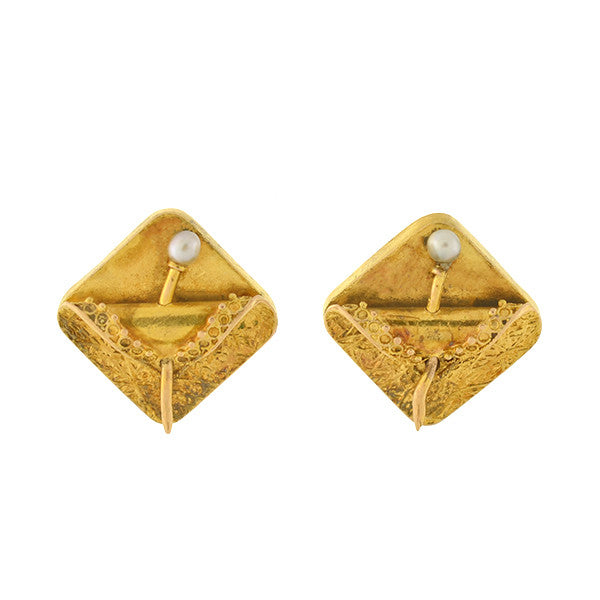 "Victorian 14kt Gold & Pearl ""Folded Fabric"" Stud Earrings"
