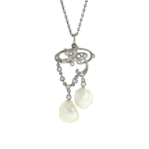 Edwardian Platinum/14kt Diamond & Pearl Lavalier Necklace