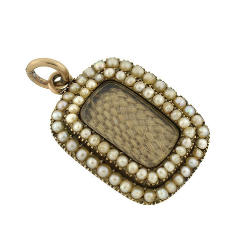 Early Victorian 14kt Pearl & Woven Hair Mourning Pendant