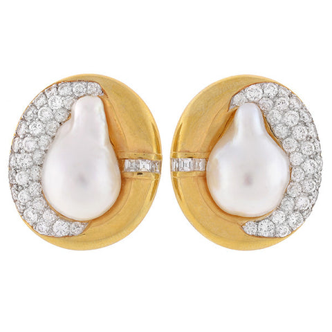 Estate 18kt Natural Pearl & Pavé Diamond Clip Earrings