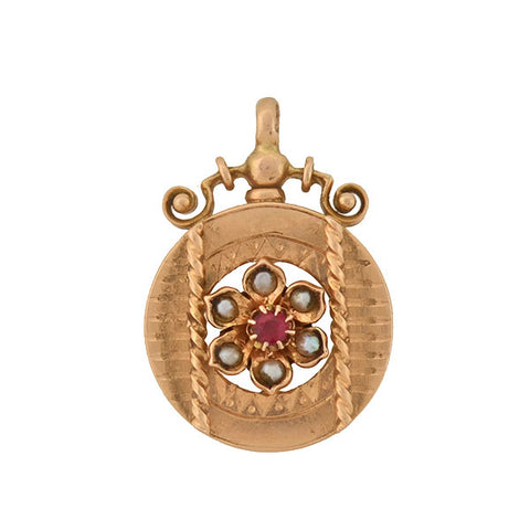 Victorian 9kt Pearl Ruby Flower Pendant