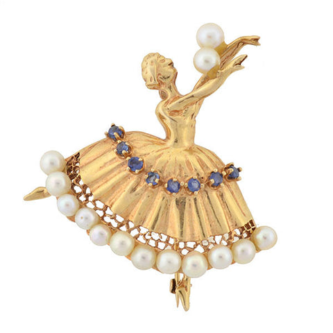 Vintage Large 14kt Pearl & Sapphire Dancing Woman Pin