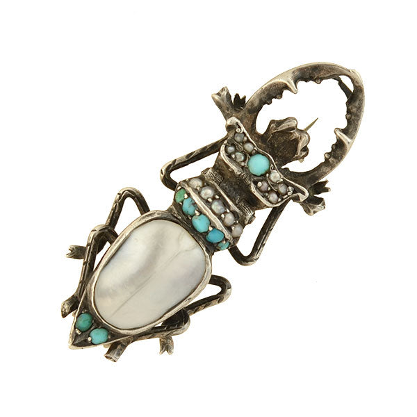 Victorian Sterling Blister Pearl + Turquoise Bug Pin with Locket
