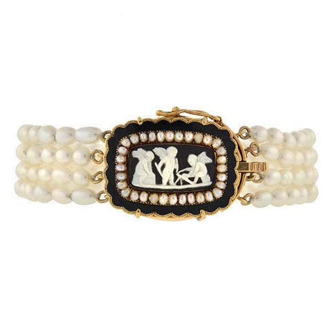 Late Victorian 14kt Fresh Water Pearls & Wedgewood Bracelet