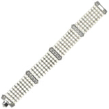 Vintage Platinum Cultured Pearl + Diamond Link Multi-Strand Bracelet