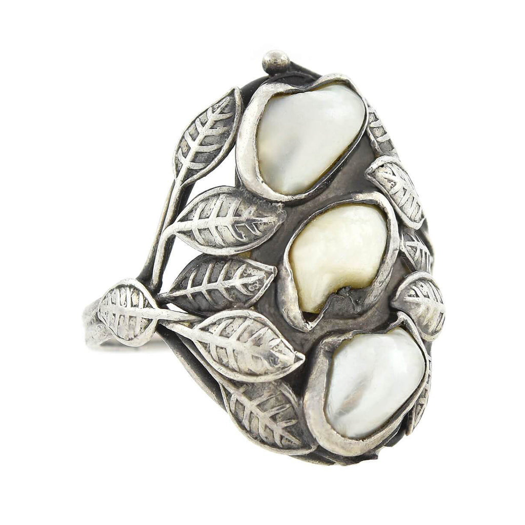 Arts & Crafts Sterling Silver Mississippi River Pearl Ring