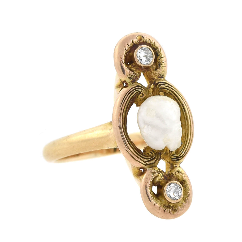 Art Nouveau 14kt Natural Pearl + Diamond Ring 0.10ctw