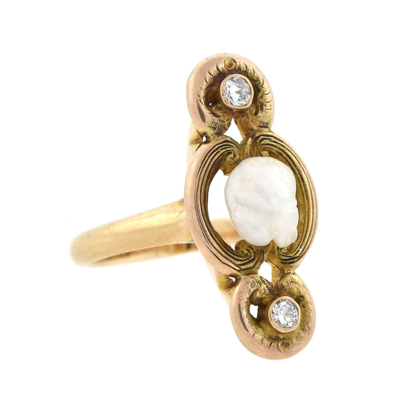 "Art Nouveau 14kt Carved Moonstone + Diamond ""Man in the Moon"" Ring"