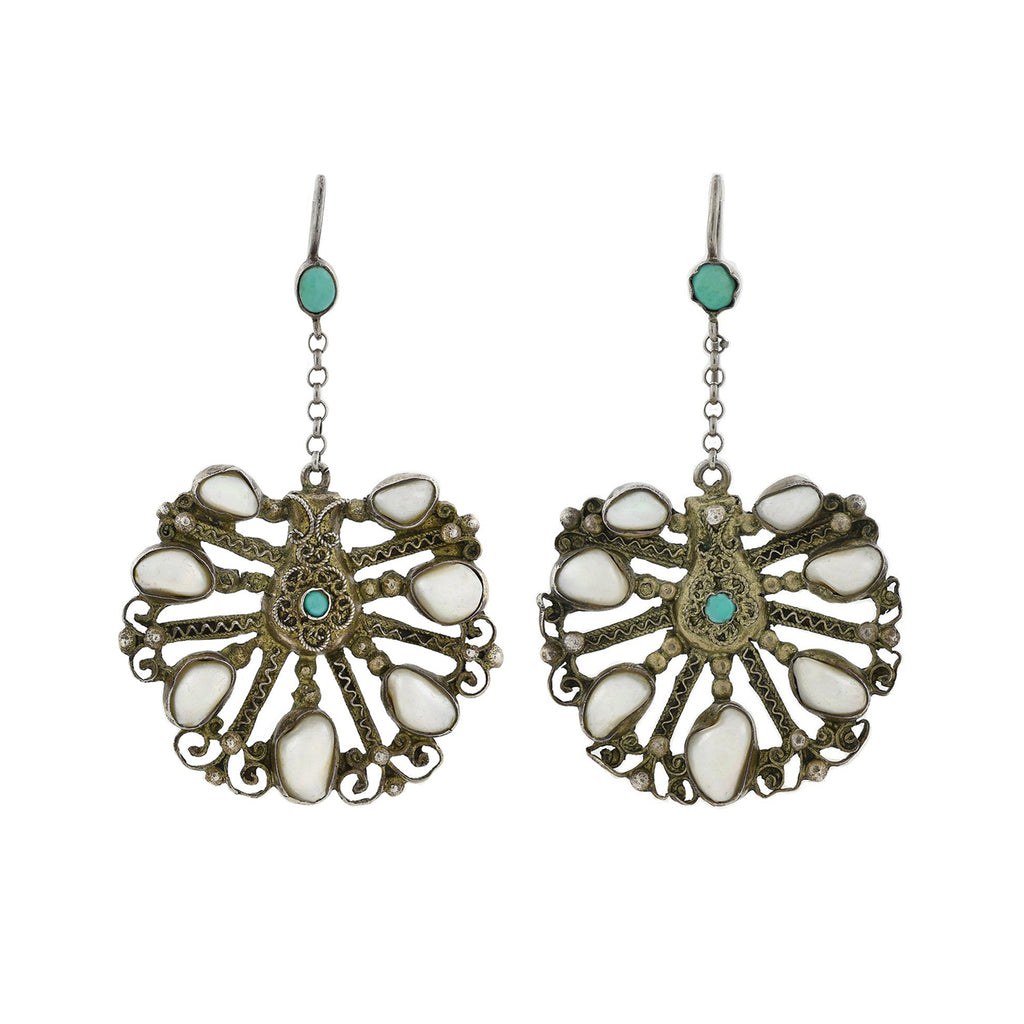 Arts and Crafts Hungarian Gilded Silver Turquoise + Pearl Earrings