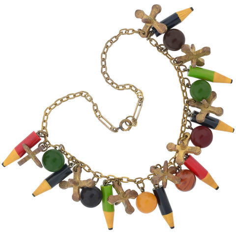 Retro Rare Brass Bakelite Pencil, Jacks, + Marbles Charm Necklace 16.5""