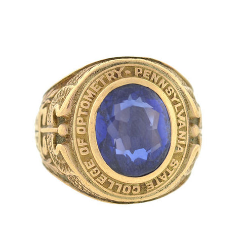 Retro 10kt Penn State Synthetic Sapphire Class Ring