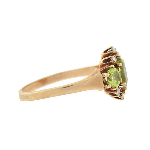 Edwardian 14kt Peridot & Diamond Cluster Ring