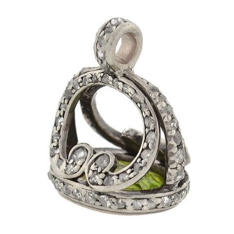 Georgian Rare Sterling, Rose Cut Diamond & Peridot Seal Fob